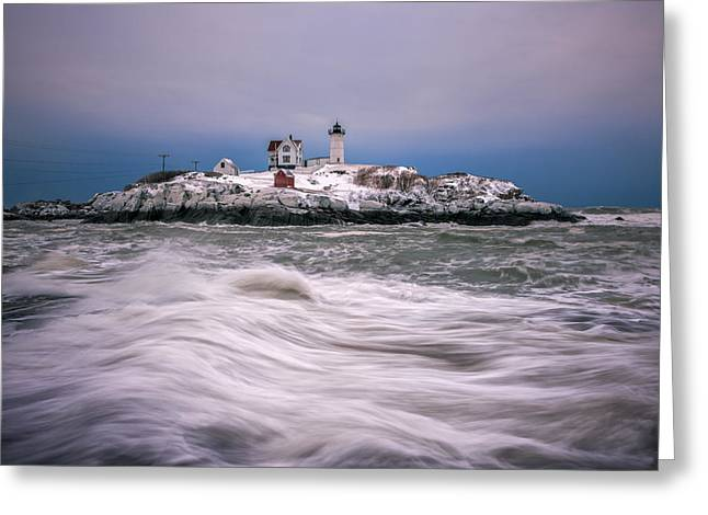 Maine Icons Greeting Cards - Tumultuous Seas Greeting Card by Matthew Milone