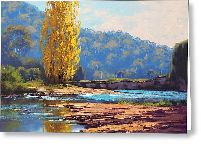 Beautiful Creek Paintings Greeting Cards - Tumut River Poplar Greeting Card by Graham Gercken
