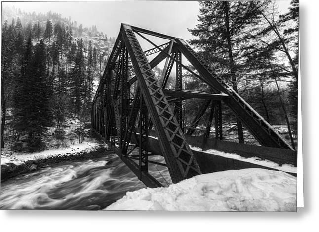 Winter Travel Greeting Cards - Tumwater Bridge in Winter Greeting Card by Mark Kiver