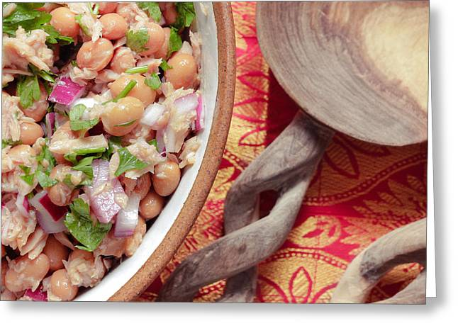 Green Beans Photographs Greeting Cards - Tuna and bean salad Greeting Card by Tom Gowanlock