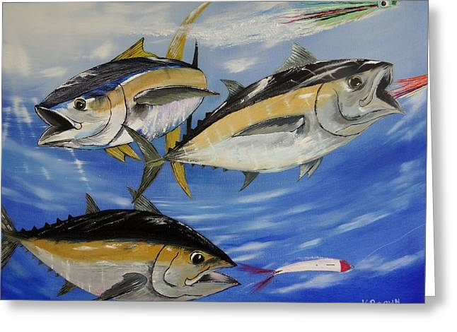 Albacore Greeting Cards - Tuna Attack Greeting Card by Kevin  Brown
