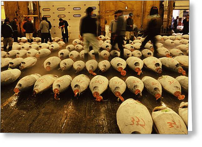 Fish Market Greeting Cards - Tuna Auction At A Fish Market, Tsukiji Greeting Card by Panoramic Images