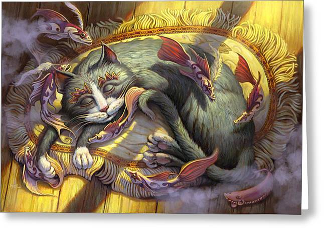 Napping Cat Greeting Cards - Tuna Dreams Greeting Card by Jeff Haynie