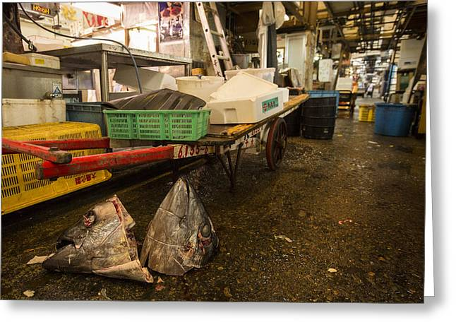 Leftovers Greeting Cards - Tuna heads in Tsukiji Fish Market Greeting Card by Ruben Vicente