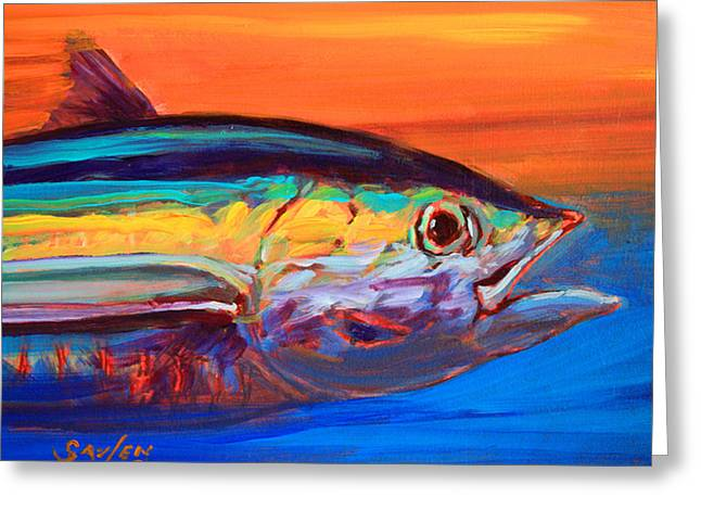 Fly Paintings Greeting Cards - Tuna Portrait Greeting Card by Mike Savlen