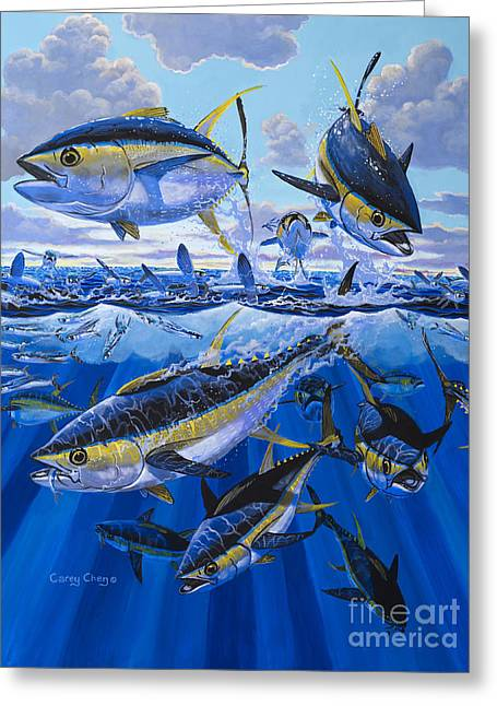 Sportfishing Boats Greeting Cards - Tuna rampage Off0018 Greeting Card by Carey Chen