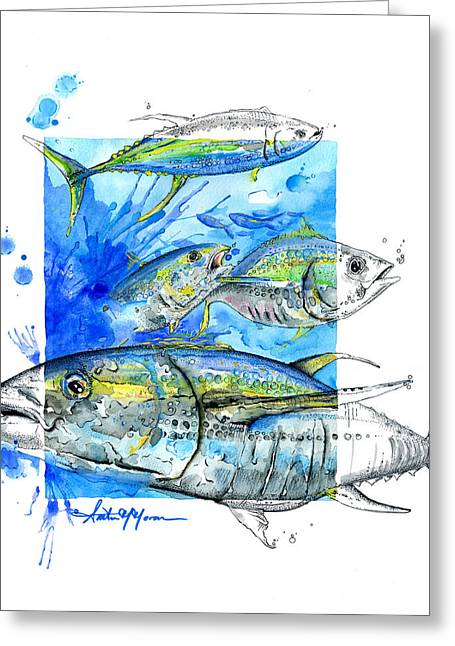 Scuba Diving Mixed Media Greeting Cards - Tuna Run Greeting Card by Amber M  Moran