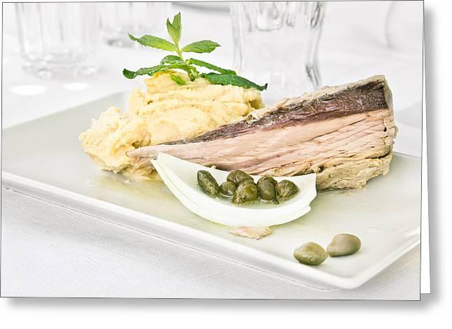 Paste Greeting Cards - Tuna steak Greeting Card by Tom Gowanlock