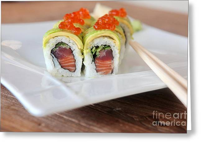 Inside Out Greeting Cards - Tuna Sushi with caviar  Greeting Card by Oren Shalev