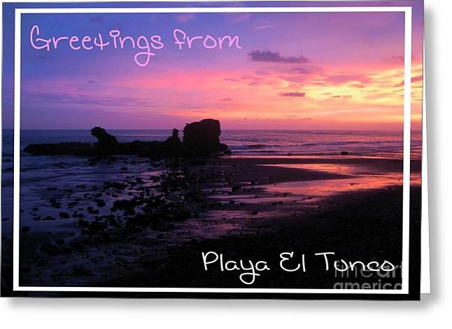 El Salvador Greeting Cards - Tunco Card Purple Haze Greeting Card by Stav Stavit Zagron
