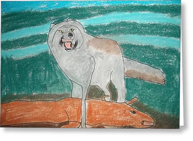 Growling Greeting Cards - Tundra Wolf Pastel On Paper Greeting Card by William Sahir House
