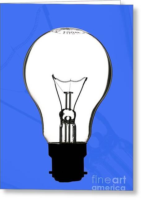 Bayonet Greeting Cards - Tungsten Filament Light Bulb Greeting Card by Martyn F. Chillmaid