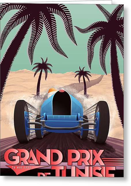 Rally Greeting Cards - Tunisia Grand Prix 1933 Greeting Card by Nomad Art And  Design