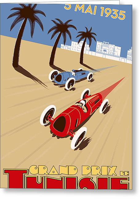 Rally Greeting Cards - Tunisia Grand Prix 1935 Greeting Card by Nomad Art And  Design