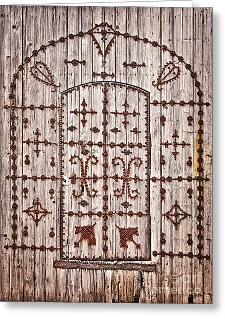 Old Door Greeting Cards - Tunisian door Greeting Card by Delphimages Photo Creations