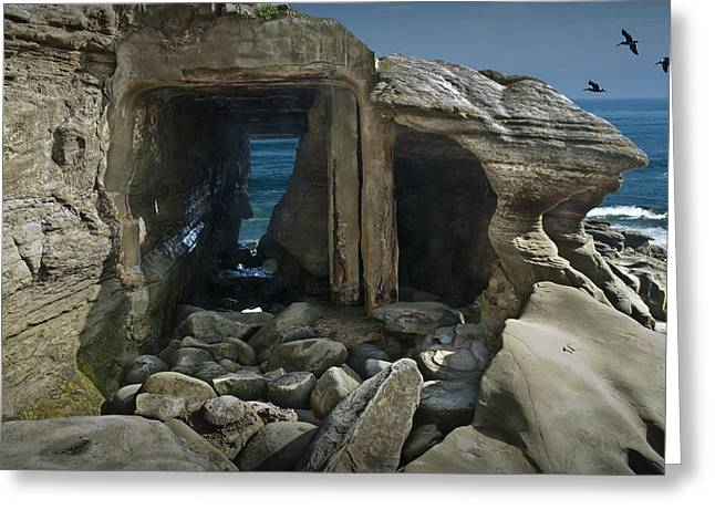 Pacific Ocean Prints Greeting Cards - Tunnel at La Jolla Cove in California No. 0178 Greeting Card by Randall Nyhof