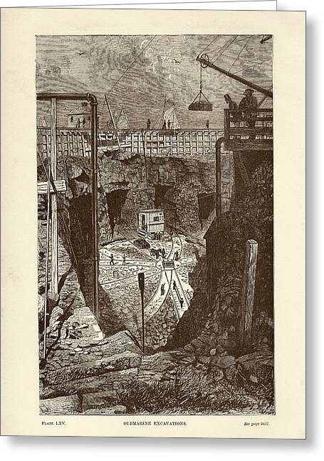Tunnel Construction Greeting Card by Art And Picture Collection/new York Public Library