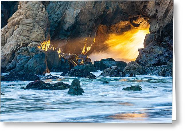 Pfeiffer Beach Greeting Cards - Tunnel Light Greeting Card by Mark Christian