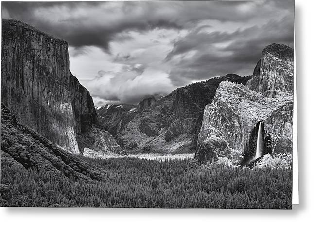 Cathedral Rock Greeting Cards - Tunnel View II Greeting Card by Dawn  Black