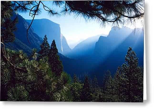 Tunnel View Greeting Cards - Tunnel View Point At Sunrise, Yosemite Greeting Card by Panoramic Images