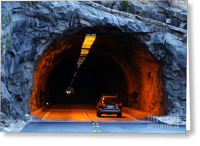Roadway Greeting Cards - Tunneling Through Greeting Card by Eva Kato