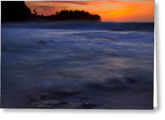 Tunnels Beach Dusk Greeting Card by Mike  Dawson