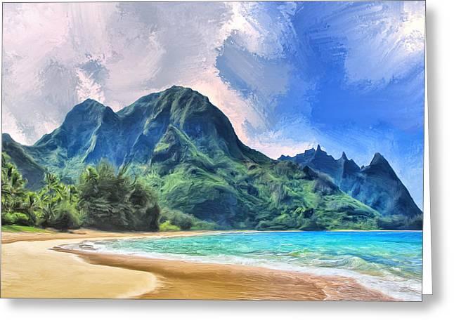 Tunnels Beach Kauai Greeting Card by Dominic Piperata