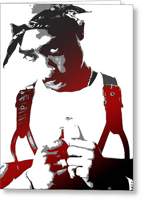 Stencil Art Greeting Cards - Tupac Greeting Card by Mike Maher
