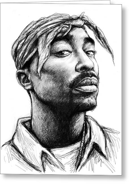 Pop Drawings Greeting Cards - Tupac Shakur art drawing sketch portrait Greeting Card by Kim Wang