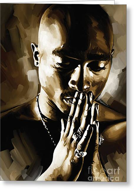 Big Mixed Media Greeting Cards - Tupac Shakur Artwork  Greeting Card by Sheraz A