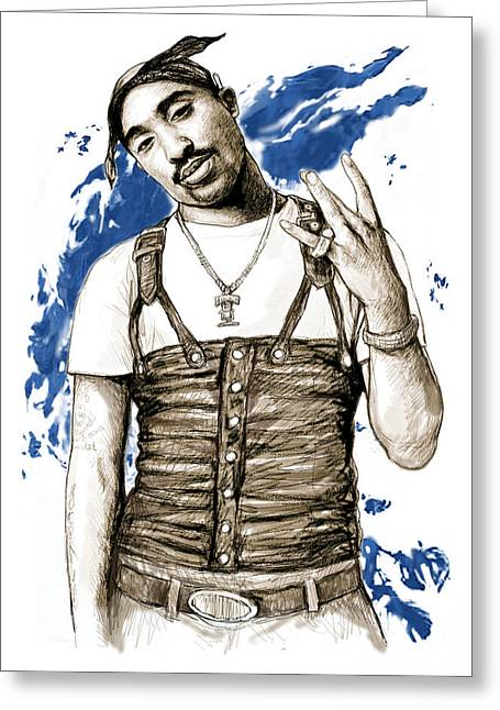New Stage Greeting Cards - Tupac Shakur colour drawing art poster Greeting Card by Kim Wang