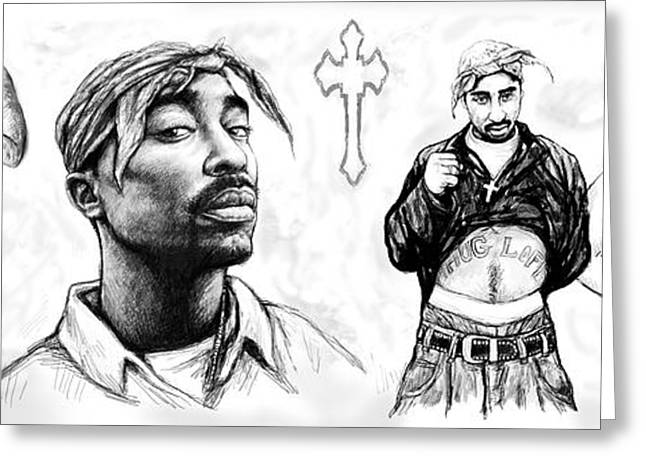 New Stage Greeting Cards - Tupac Shakur long drawing art poster Greeting Card by Kim Wang