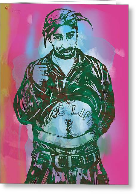 New Stage Greeting Cards - Tupac Shakur pop art poster Greeting Card by Kim Wang