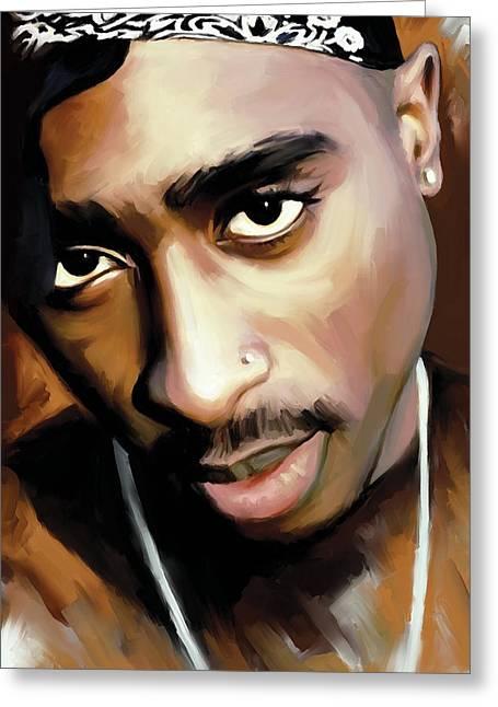 Notorious Greeting Cards - Tupac Shakur Greeting Card by Sheraz A