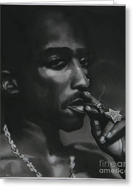 Portraitist Greeting Cards - Tupac thoughts Greeting Card by Riane Cook