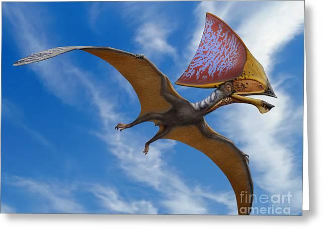 Pterosaur Greeting Cards - Tupandactylus Imperator, A Pterosaur Greeting Card by Sergey Krasovskiy