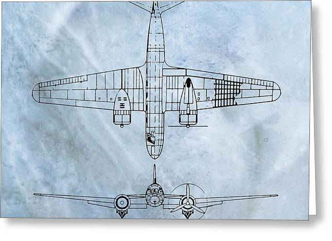 Tupolev Greeting Cards - Tupolev ANT-35 Blueprint Greeting Card by Dan Sproul