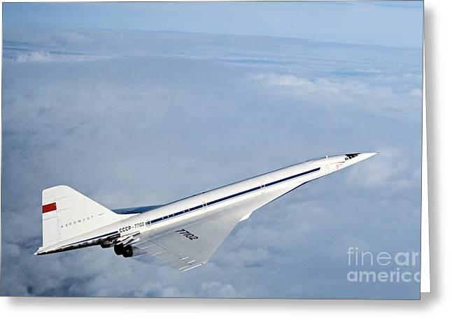 Tupolev Greeting Cards - Tupolev Tu-144, First Supersonic Greeting Card by RIA Novosti