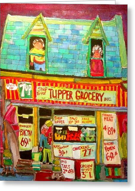 Michael Litvack Greeting Cards - Tupper Grocery 1960s Greeting Card by Michael Litvack