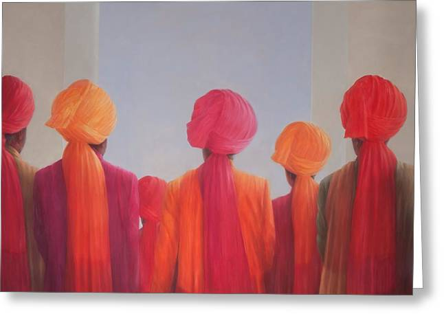 Turbans Greeting Cards - Turban Group, 2012 Acrylic On Canvas Greeting Card by Lincoln Seligman