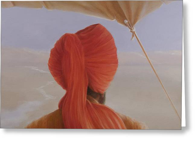 Indian Headdress Greeting Cards - Turbaned Backview With Tenting Greeting Card by Lincoln Seligman