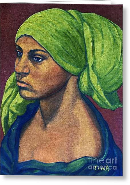 Turbaned Girl Greeting Card by EricA Art
