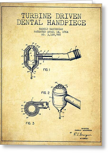 Turbine Driven Dental Handpiece Patent From 1964 - Vintage Greeting Card by Aged Pixel
