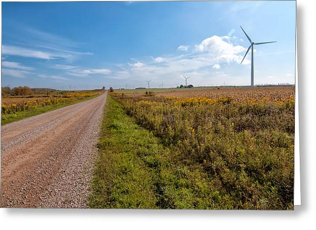 Environment-friendly Greeting Cards - Turbine Road Greeting Card by James Wheeler