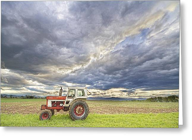 Storm Prints Photographs Greeting Cards - Turbo Tractor Country Evening Skies Greeting Card by James BO  Insogna