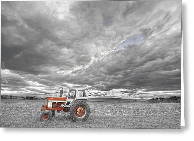 Storm Prints Photographs Greeting Cards - Turbo Tractor Superman Country Evening Skies Greeting Card by James BO  Insogna