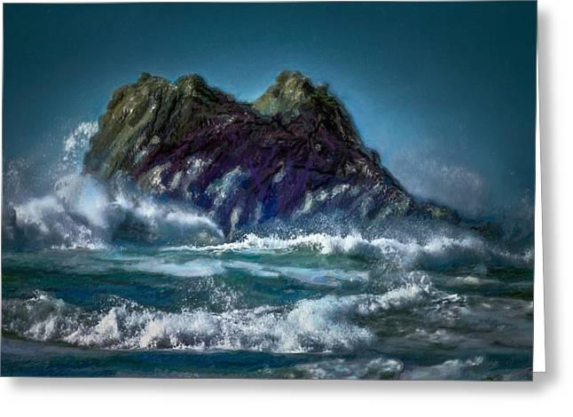 Sailboat Ocean Greeting Cards - Turbulent Sea - Painting Greeting Card by F Leblanc