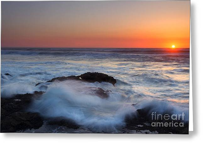 Turbulent Sunset Greeting Card by Mike  Dawson