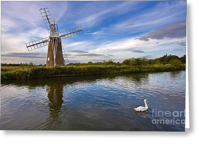 Evening Lights Greeting Cards - Turf Fen Drainage Mill Greeting Card by Louise Heusinkveld