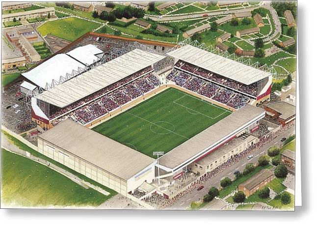 Soccer Greeting Cards Greeting Cards - Turf Moor - Burnley Greeting Card by Kevin Fletcher